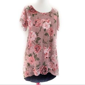 🆕 ONYX Pink Lace Floral Blouse
